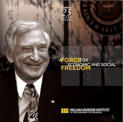 "Cover image of 25th Anniversary book titled ""A Force for Economic and Social Freedom"""