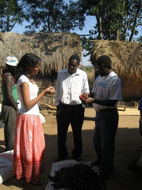 Lewis speaks with a paprika farmer in Malawi during her internship.