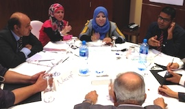 Participants in a December 2014 entrepreneurship training session in Bahrain.