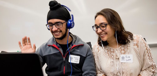 University of Michigan students chat during an M2GATE virtual exchange session.