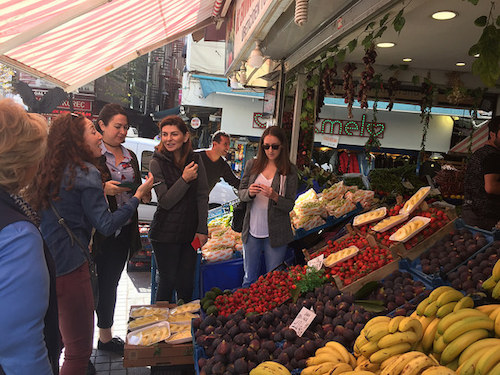 Members of the LIFE project consortium visit a produce stand in Turkey and interviews the owner on how a green grocer sources his produce and his perspective on how he could potentially benefit from the LIFE Food Enterprise Center.