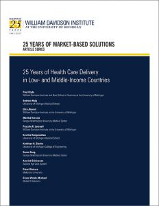 "Cover of 25th Anniversary Article by WDI titled ""25 Years of Health Care Delivery in Low and Middle Income Countries"""