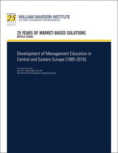 "Cover image of 25th Anniversary article by WDI titled ""Development of Management Education in Central and Eastern Europe"""