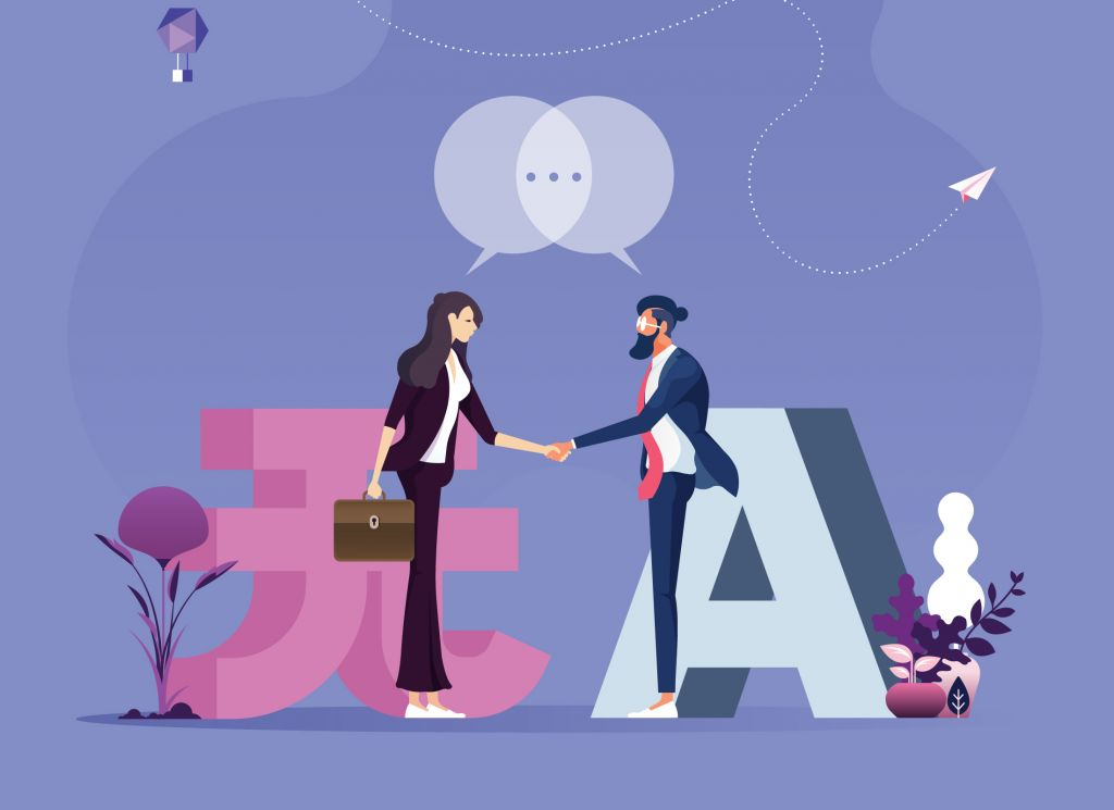 Illustration of man and woman communicating in different languages