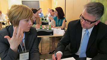 Participants in a leadership education workshop