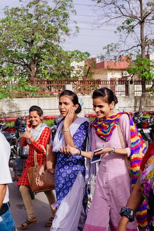 Women workers outside of a Shahi Exports garment facility in Delhi. Image credit: Nayantara Parikh